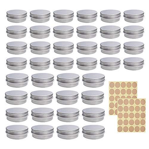 Tarros Cosmeticos Vacios, ZoneYan Latas Vacío Contenedor Aluminio, Contenedor De Cosméticos Redondo, Bote Crema Aluminio, para Loción Bálsamos, 40 Piezas