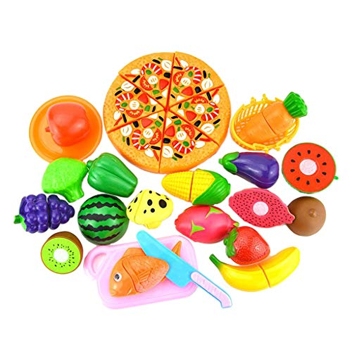 chiwanji 24 Piezas de Cocina para Niños, Juego de Simulación, Juego de Juguetes para Cortar, Berenjena, Sandía