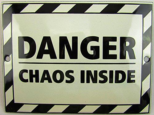 NUEVO esmalte Cartel Danger Chaos Inside, 9cm x 12cm, Classic nostálgico Cartel años 50Life Style Retro Fifties