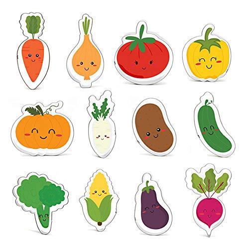 Lot de 12 emporte-pièces légumes - Tomate, poivre, citrouille, pomme de terre, oignon, radis luffa, chou-fleur carotte, navet, aubergine - Acier inoxydable