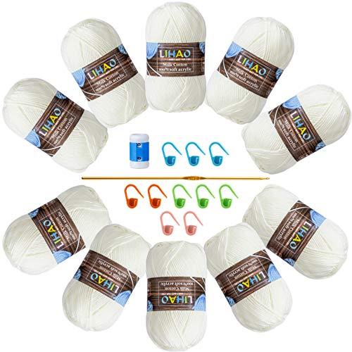 LIHAO 10 x 50G Lanas para Tejer Ovillos de Lana Color Lechoso Estambre Acrílico Algodón con Bolsa de Almacenamiento