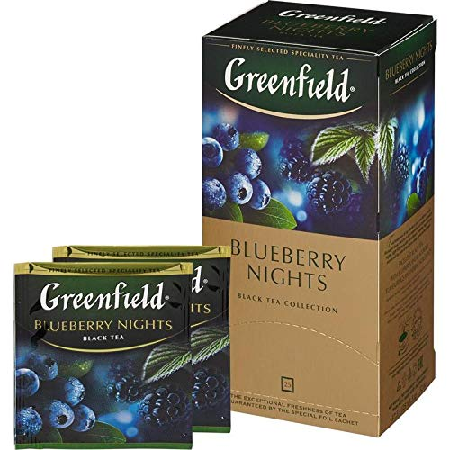 Greenfield Schwarztee Blueberry Nights 3er Pack (3 x 25 Teebeutel ) Tee black Tea