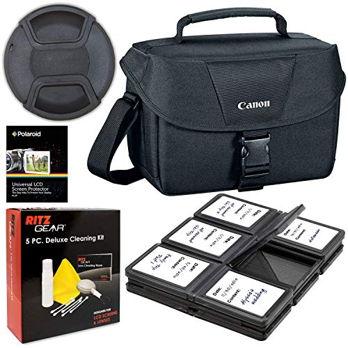 Canon 200ES Camera Shoulder Bag (9320A023) for Canon EOS Rebel T6 T7 T5i T6i T7i EOS 90D 80D 70D 6D EOS Sl3 SL2. Bundle Includes, 58mm Lens Cap, 5-Piece Cleaning Kit, Screen Protectors