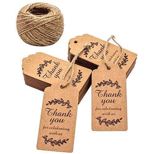 SZETOSY Bruiloft Gift Tags Met Touw - GOODCHANCEUK 200 STKS Kraft Papier Handgemaakt Met Liefde Label Tag/Tie Op Bagage Labels Bruin Handwerk String Hang Tag