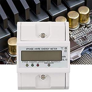 Lsaardth Medidor de energía eléctrica -220/380V 20-80A Consumo de energía Medidor de energía eléctrica Digital Medidor de 3 Fases 4P KWh con LCD