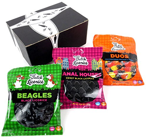 Gustaf's Gluten Free Dutch Black Licorice 3-Flavor Variety: One 5.29 oz Bag Each of Beagles, Canal Houses, and Duos in a BlackTie Box (3 Items Total)