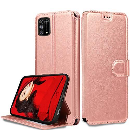 LeYi Hülle für Samsung Galaxy M31 Mit HD Folie Schutzfolie,Leder Wallet Etui Handyhülle Magnet Tasche Slim Silikon Soft Grip Bumper TPU Schutzhülle Cover Case für Handy M31 Matt Rose Gold
