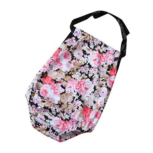 Longra Infant Filles Licou Fleurs Mamelon Combinaison Vêtements Outfits(0-2 ans) (12M, Noir)