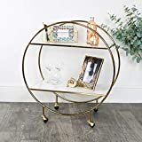 Melody Maison Gold & Marble Round Bar Cart