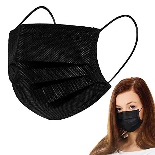 50PCS Wrapped Disposable Black Face Meask Cover for Adults,3-Ply Filter Non Medical Breathable Earloop (Black,50 Pack)