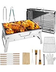 Luckits Barbecue Grill Met BBQ Gereedschap Set, Opvouwbare Houtskool Barbecue Grill Draagbare Heavy Duty RVS BBQ Grill Houtskool Barbecue, voor Outdoor Camping Reizen Picknicks, 16,8 X 11,3 X 9,2 ''