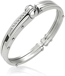 Bling Jewelry Partner in Crime Handcuff for Mens for Women Bracelet Bangle Cubic Zirconia Accent Silver Tone Stainless Steel