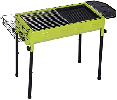 Qiupei Barbecue Grill Garden Party Camping Hiking Charcoal Outdoor BBQ Stainless Steel Foldable Grill for Outdoor Cooking (Color : Green, Size : 94x35x68cm)