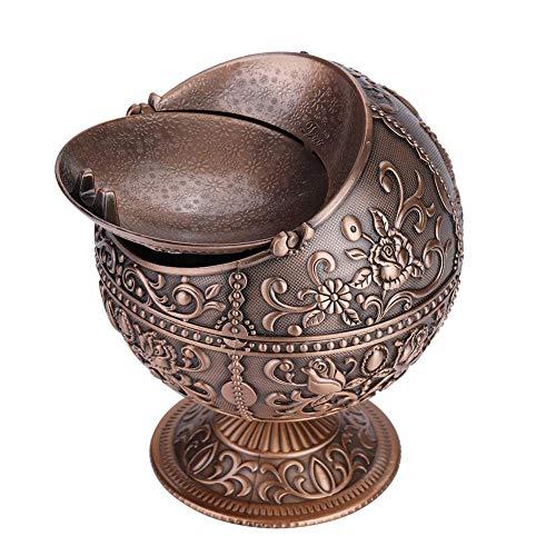Hilitand Aschenbecher, Vintage-Design, Metall, Runde Kugel, Prägemuster, Geschenk-Dekoration für drinnen und draußen Red Bronze
