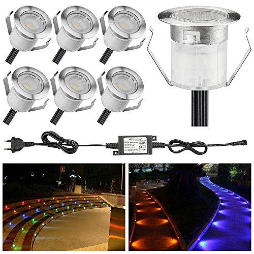 6 Stück LED Einbaustrahler led Bodeneinbauleuchte IP67 wasserdicht 0.6W Ø30mm led Einbauleuchte Terrasse Küche Garten Led Lampe (RGB, 6er-set)