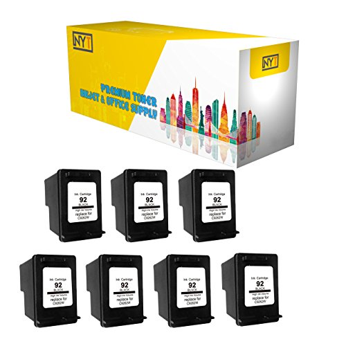 Printronic Remanufactured Ink Cartridge Replacement for HP 92 C9362WN (7 Black) 7 Pack