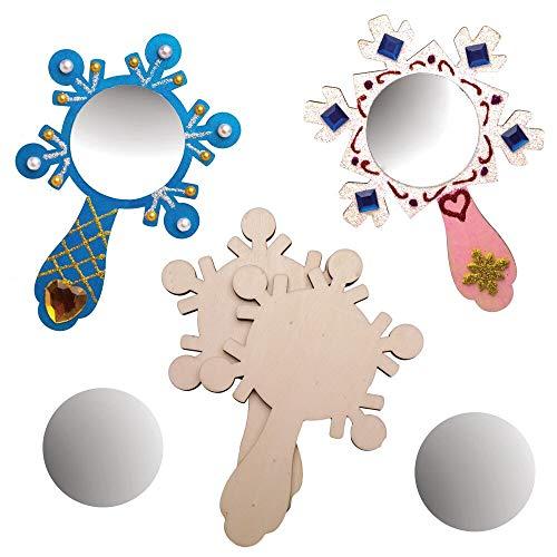 Baker Ross AW908 Houten spiegel knutselsets sneeuwvlok (4 stuks) Kerstmis knutselen voor kinderen, houtkleuren