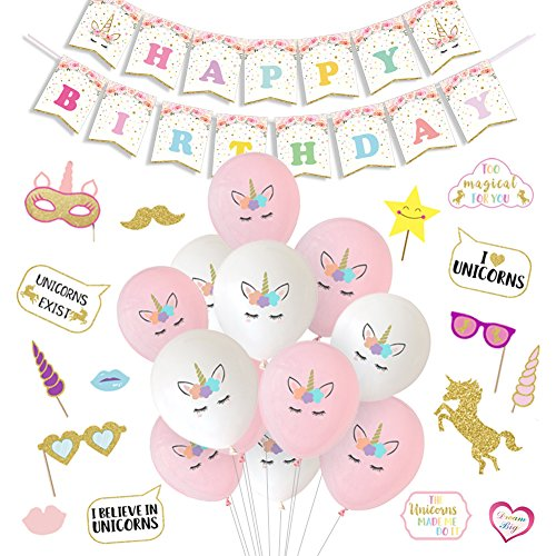 LUCK COLLECTION Unicorn Party Decorations Unicorn Balloons Happy Birthday Banner Photo Booth Props for Girls Birthday Party Supplies