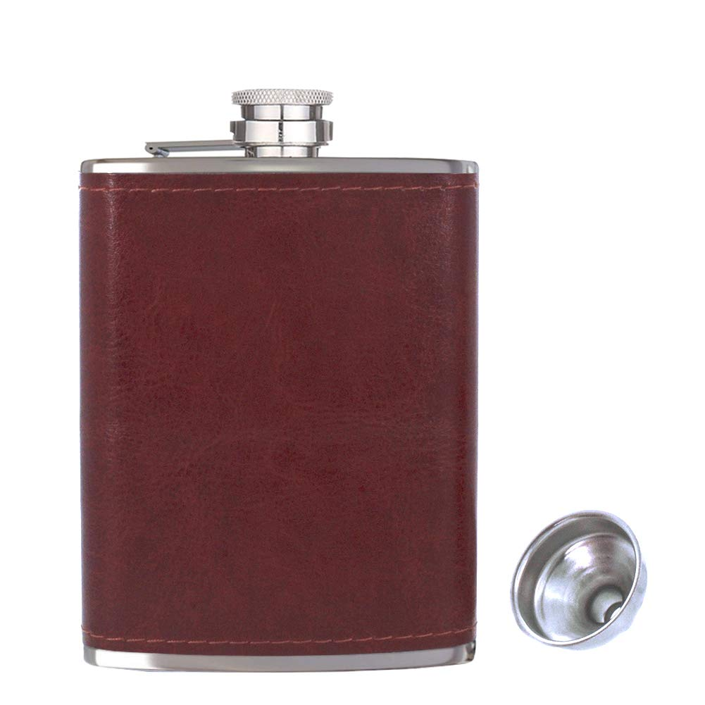 Vacu Vin Hip Flask and Funnel Brown