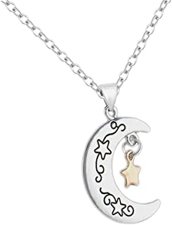 """JUESJ Bicolor Star Moon Lettering""""I Love U The Moon and Back""""Couple Pendant Necklace for Girls Valentine's Day Gifts"""