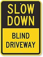 安全標識-減速-ブラインドドライブウェイ。 金属スズサインUV保護および耐候性、通知警告サイン