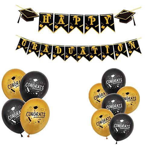 Happy Graduation Bunting Banner, Graduation Balloons Graduation Banner Congrats Grad Party Decorations,Black Golden Grad Garland Graduation Party Supplies
