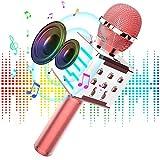 Micrófono Inalámbrico Karaoke Bluetooth, Altavoz de Alta Fidelidad de 10W Microfono Karaoke con Luz LED multicolor 4 en 1 para Niños Canta Partido Musica, Compatible con Android/iOS/PC/AUX