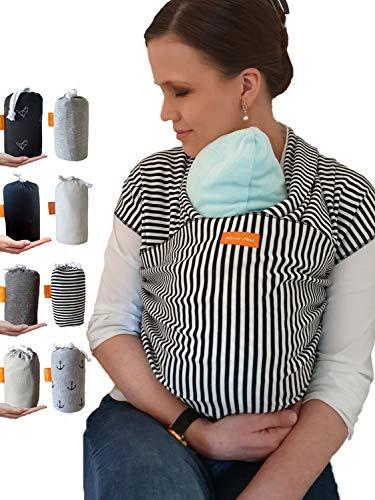 Kleiner Held® Babytragetuch - hochwertiges elastisches Tragetuch - Babytrage für Früh- und Neugeborene Babys ab Geburt bis 18 kg inkl. Baby Wrap Carrier Anleitung - Aufbewahrungsbeutel I Streifen