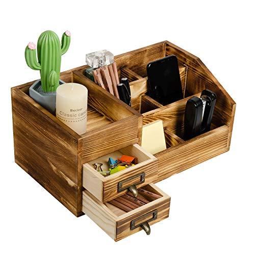 Organizador de escritorio de madera rústica con cajones de almacenamiento de mesa, estante escalonado, varios compartimentos
