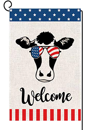 Baccessor Welcome Cow USA Garden Flag Patriotic Strip and Star American Flag, 4th of July Memorial Day Independence Day Burlap Seasonal Yard Flag Outdoor Decoration 12 x 18 Inch (American Cow 2)