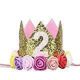Sunlera Partido de la Flor de la niña del cumpleaños del Muchacho Cap Diadema 1/2 1 2 3 Año Número recién Nacido Sombrero del cumpleaños