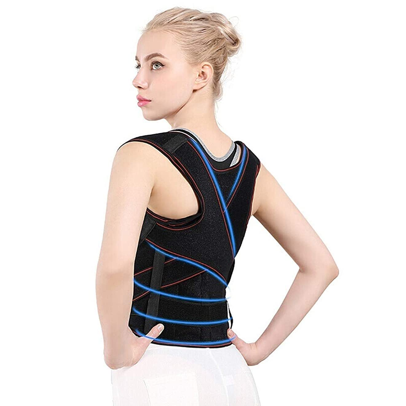 失礼フラグラントに対応姿勢矯正ベルト にとって 男性 そして 女性たち、姿勢サポーター 脊椎 そして バック サポート、キッズ ネック、肩 改善する 姿勢、調整可能 そして 通気性 (Size : L)