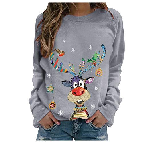 DAY8 Damen Herbst Winter Weihnachten Print Sweatshirt Lässig Loose Langarm Crop Patchwork Bluse Pullover Tops