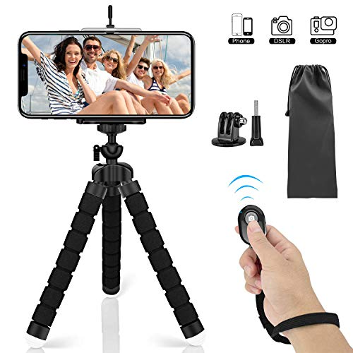Mini Phone Tripod, SYOSIN Phone Camera Tripod Mount with Bluetooth Control and Universal Clip, 360° Rotating Flexible Tripod Stand Holder...