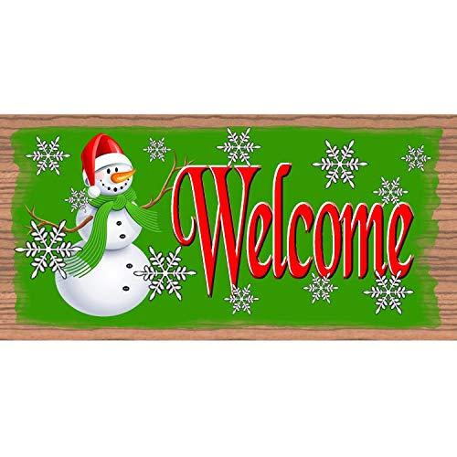 Em2342oe - Cartel de madera impreso, 8 x 16 cm, con texto en inglés 'Welcome'