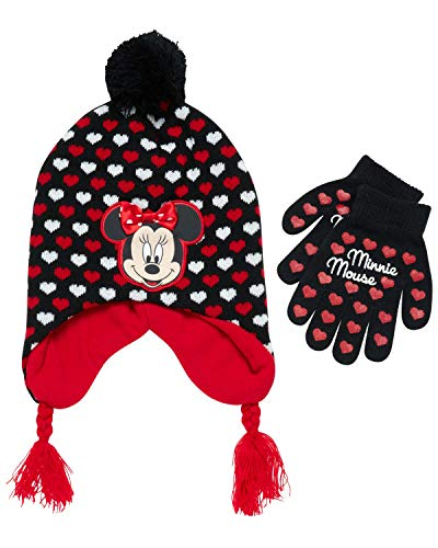Disney Little Girls Minnie Mouse Character Hat and, Black, Red, Size Age 4-7