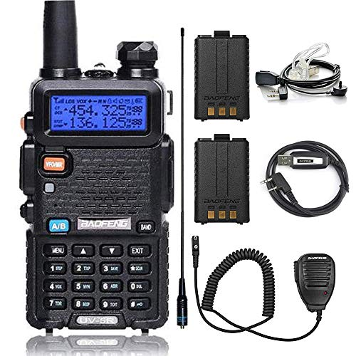 BaoFeng Walkie Talkie UV-5R 8W Dual Band Two Way Radio with one More 1800mAh Battery one Hand Mic one Acoustic Tube Surveillance Earphone one Cable and one NA-771 Antenna Ham Radio