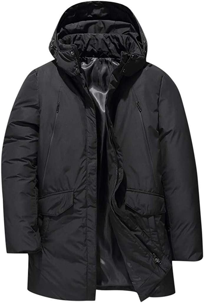 Men's Hooded Parka Jacket, NRUTUP Winter Thick Down Jacket Ultra Warm Puffer Jacket Water-Resistant Insulated Overcoat