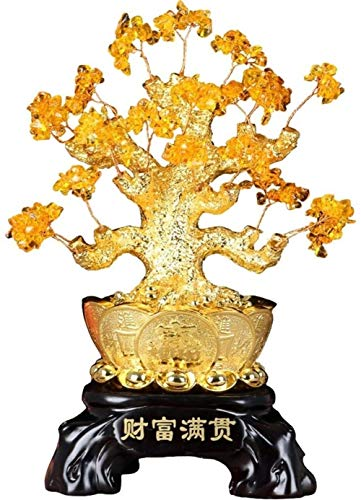 Árbol del dinero bonsai feng shui Crystal decoración del árbol de la fortuna afortunada del árbol del dinero de la sala Bonsai bar Living Room Dining Planta decoración de la tabla apertura tiendas de
