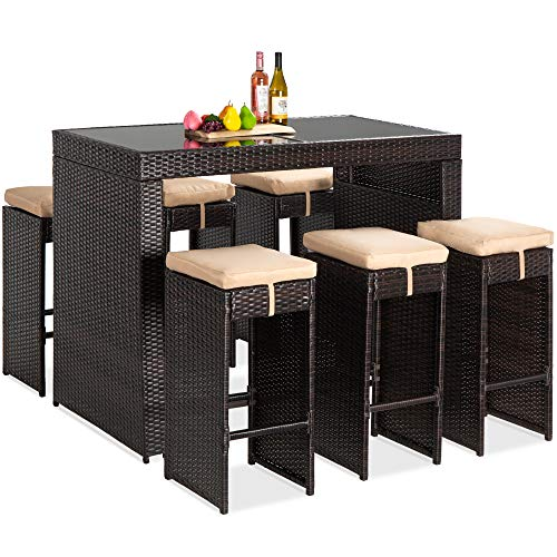 Best Choice Products 7-Piece Outdoor Wicker Bar Dining Set, Rattan Patio Furniture for Backyard, Garden w/Glass Table Top, 6 Stools, Removable Cushions - Brown/Beige