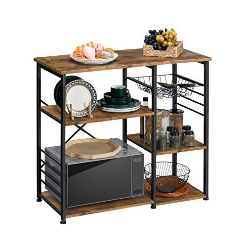 EPHEX Küchenregal Standregal im Industrie-Design, Mikrowellenregal mit Stahlgestell und Drahtkorb, mit 6 Haken, Vintage Braun, 90 x 42,5 x 84 cm (B x T x H)