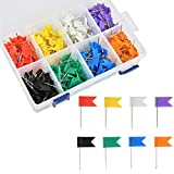YANSHON 400 Pack Travel Map Push Pins, Colored Flag Travel Map for Travel Map Cork Board, Decorative Colored Map Pins with Flags, Assorted Colors