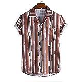 Ocuhiger Camisas Casuales De Manga Corta con Estampado Digital para Hombres Camisa De Vacaciones En La Playa Hawaiana Camisa Ajustada Estándar con Botones Y Solapa Blusa Marrón