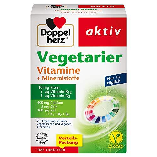 Doppelherz Vegetarier Vitamine + Mineralstoffe – Abgestimmte Nährstoffe für Vegetarier und Veganer – 100 Tabletten