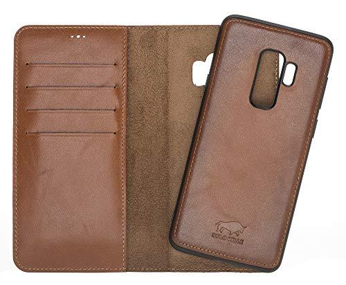 Solo Pelle Lederhülle Harvard kompatibel für das Samsung Galaxy S9 Plus inklusive abnehmbare Hülle mit integrierten Kartenfächern (Cognac Braun Burned)