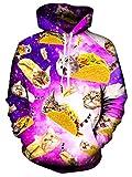 Spreadhoodie Unisex 3D Katze Sweatshirt Pullover Hoodies Lustige realistische Pizza Cat gedruckt Pullover mit Kapuze Langarm Sweatshirt mit Känguru-Tasche Rosa L