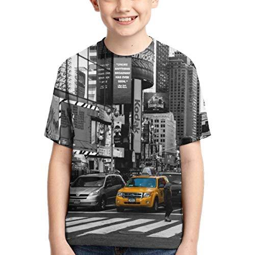 huatongxin New York City Art Gelb Taxi Kinder 3D Druck T-Shirts Kurzarm Tee Sport Baseball Shirt für Jungen Gr. S, Siehe Abbildung