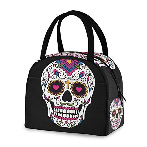 DOSHINE - Bolsa de almuerzo reutilizable, diseño de calavera mexicana de Halloween con azucarero y calavera, bolsa para el almuerzo, bolsa de comida para niños, hombres, mujeres, niños y niñas