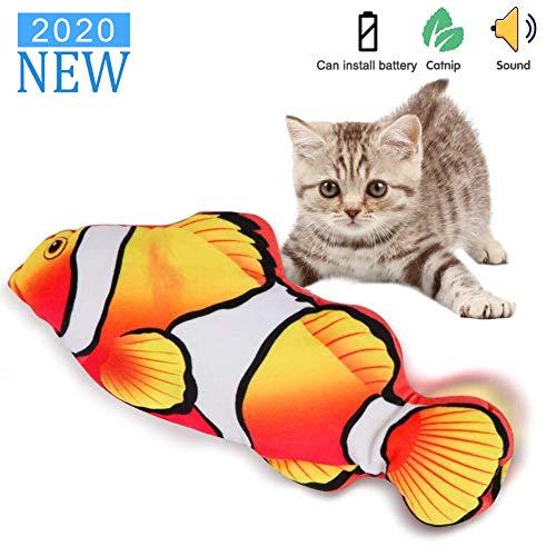Sunshine smile elektrische Fische Katze,katzenminze Fisch Spielzeug,katzenspielzeug Fisch elektrisch beweglich,Simulation Fisch,elektrische Fische plüsch,Katze interaktive Spielzeug (C)