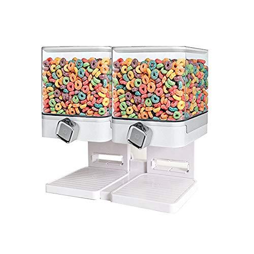 Dispensador de cereales doble blanco/negro recipiente de almacenamiento de alimentos secos, mantiene cereales, granola, avena, frutos secos, arroces y dulces limpios crujientes y frescos